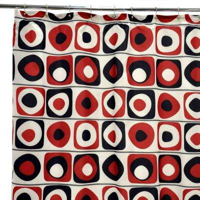 Vintage Squares Red Shower Curtain