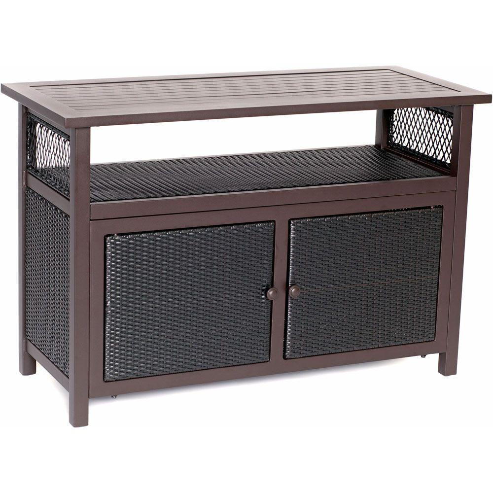 Hanover Outdoor All Weather Patio Serving Bar With Storage: console tables with storage