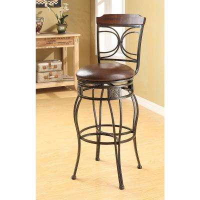 Tavio 29 in. Black Gold Brush Swivel Cushioned Bar Stool (Set of 2)