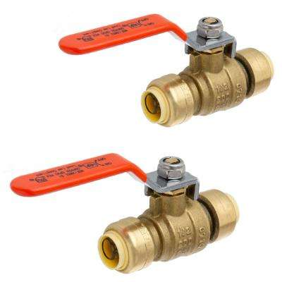 1/2 in. Brass Push-Fit Ball Valve (2-Pack)
