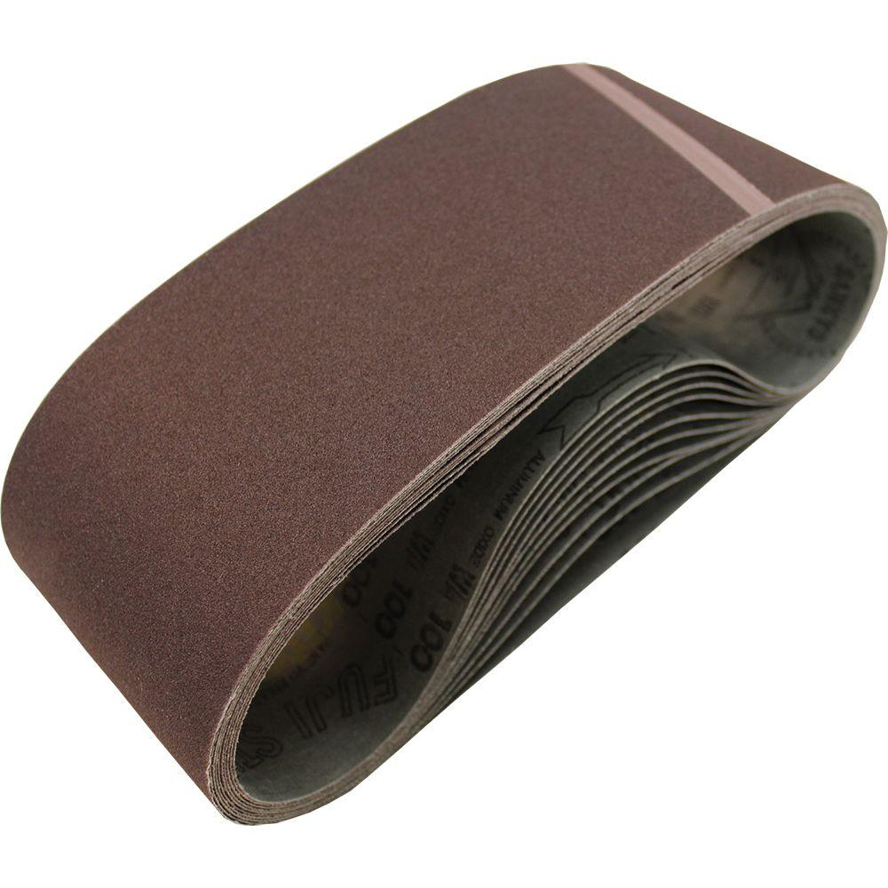 4 in. x 24 in. 100-Grit Abrasive Belt (10-Pack)