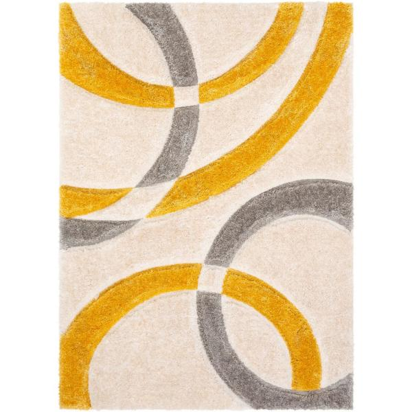 Well Woven San Francisco Bevel Yellow Modern Geometric Abstract Shapes 5 Ft 3 In X 7 Ft 3 In 3d Carved Shag Area Rug Sf 81 5 The Home Depot