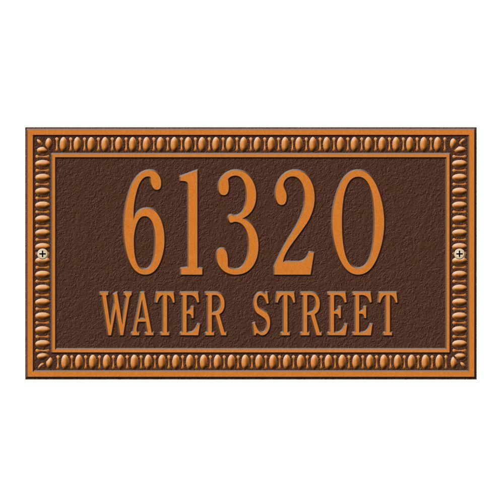 Egg and Dart Rectangular Antique Copper Standard Wall Two Line Address