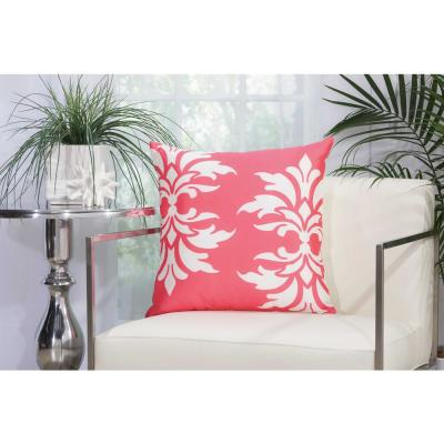 Damask Hot Pink Floral Stain Resistant Polyester 20 in. x 20 in. Throw Pillow