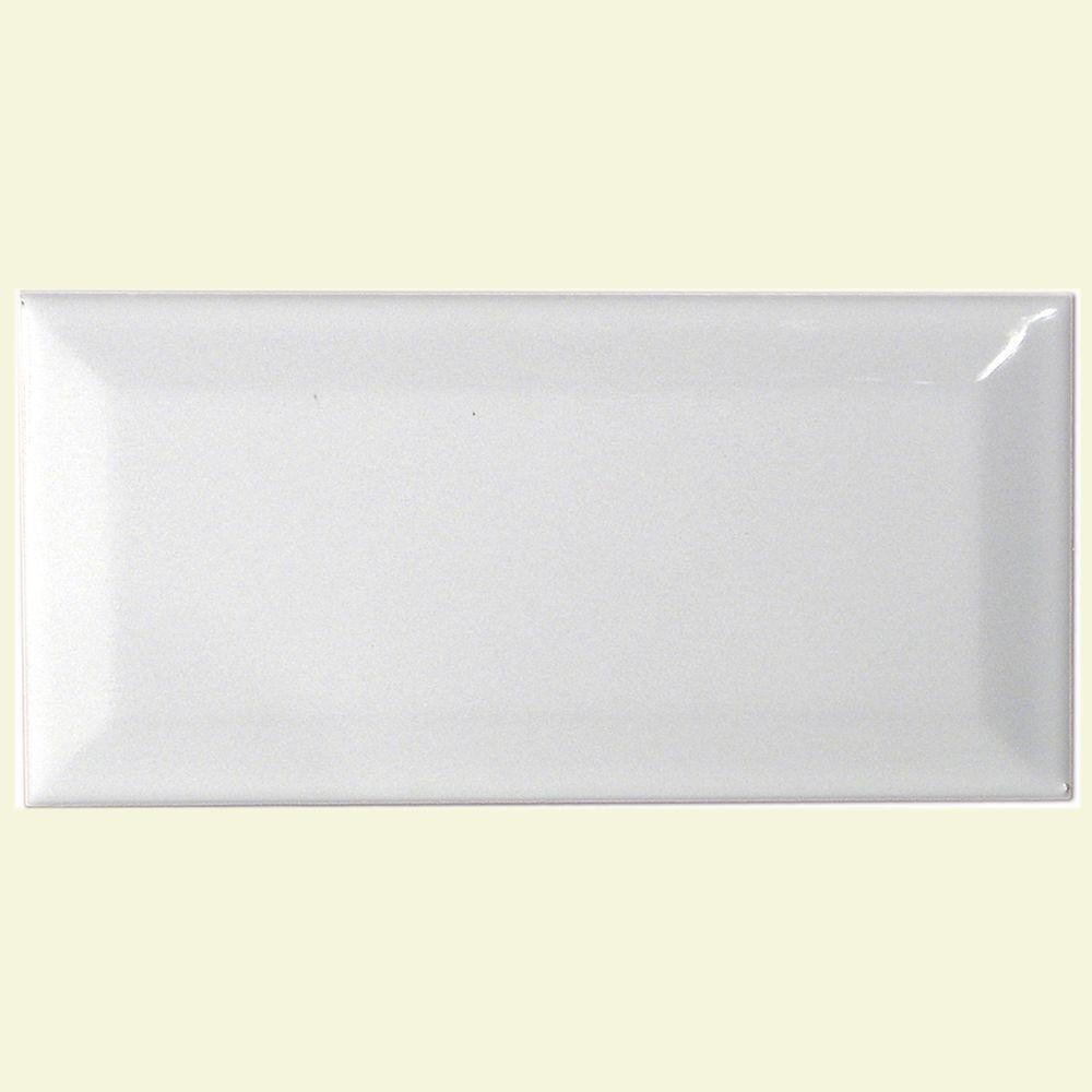 Merola Tile Plaqueta Biselada Blanco 3 in. x 6 in. White Ceramic Wall Tile-DISCONTINUED