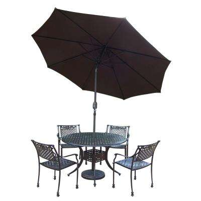 7-Piece Outdoor Dining Set with Round Table 4 Cast Aluminum Chairs Metal Umbrella and Stand