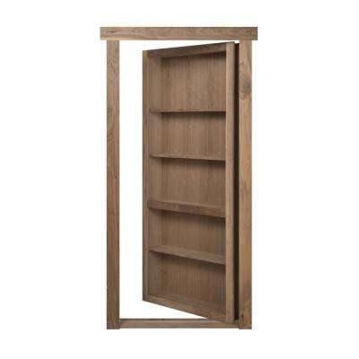 30 in. x 80 in. Flush Mount Assembled Walnut Unfinished Left-Hand Outswing Solid Core Interior Bookcase Door