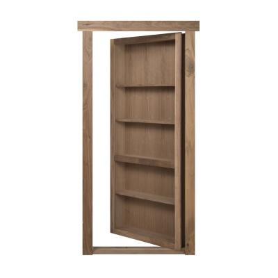 32 in. x 80 in. Flush Mount Assembled Walnut Unfinished Left-Hand Outswing Solid Core Interior Bookcase Door