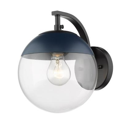 Black Dixon Sconce with Clear Glass and Navy Cap