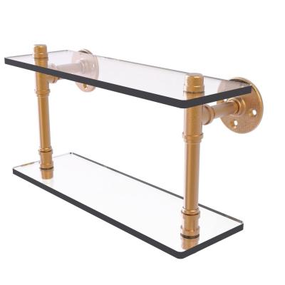 Allied Brass Pipeline Collection 16 In Double Glass Shelf In Brushed Bronze P 420 16 Dgs Bbr The Home Depot