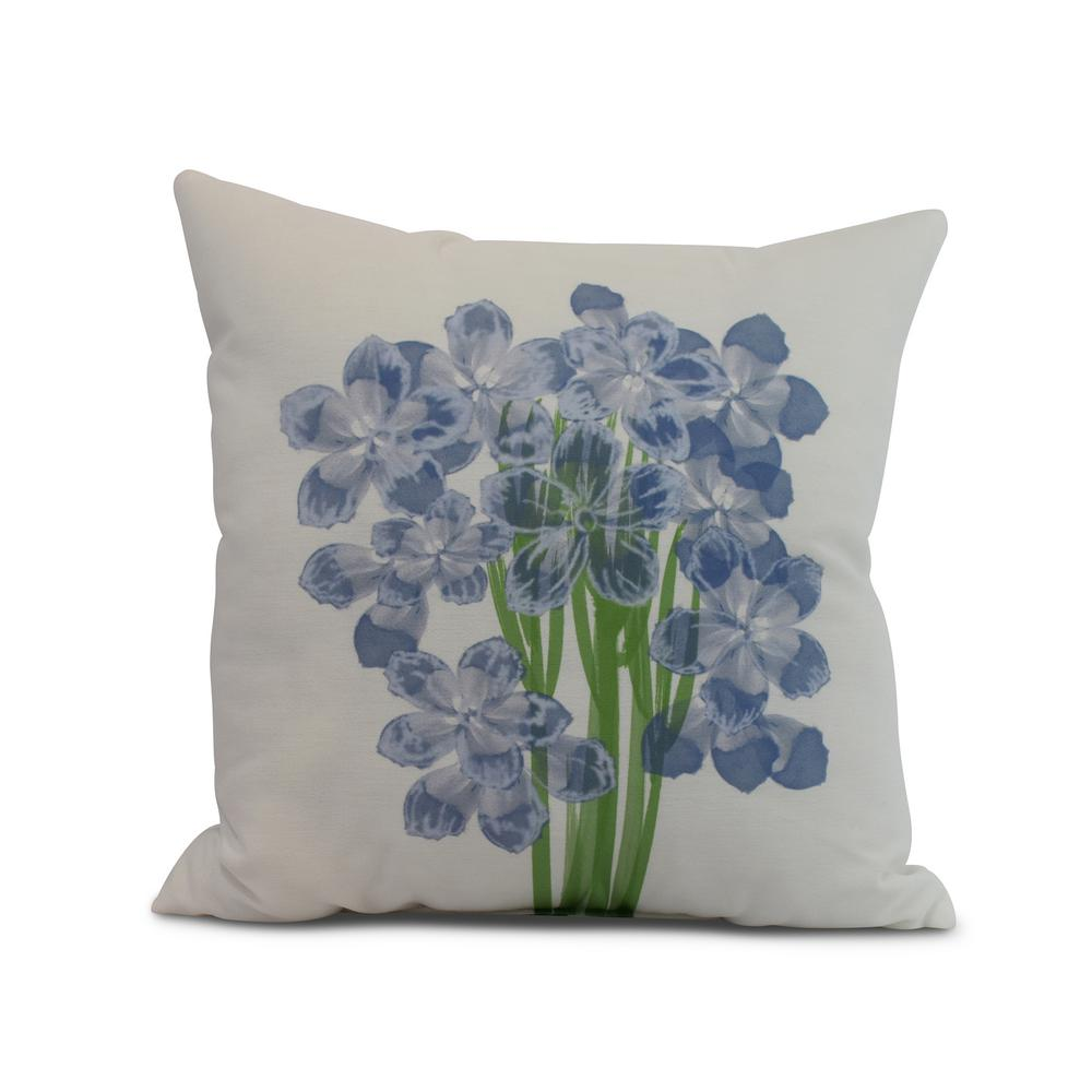 Florpalida 16 in. Blue Decorative Floral Throw Pillow