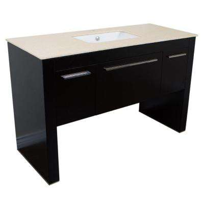 Millwood 55.3 in. W x 23.6 in. D Single Vanity in Black with Marble Vanity Top in Cream Marfil with White Basin
