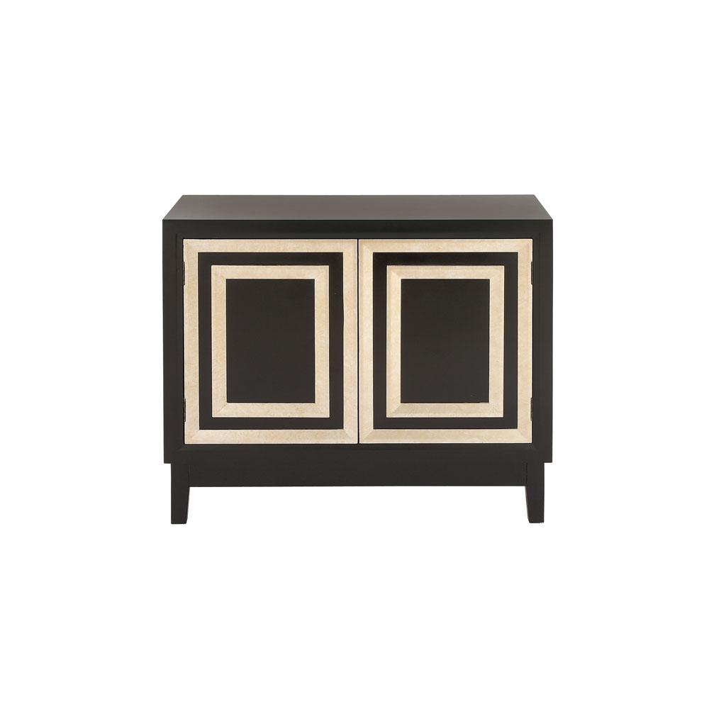 Litton Lane Black And Gold Modern 2 Door Wooden Cabinet 60144 The