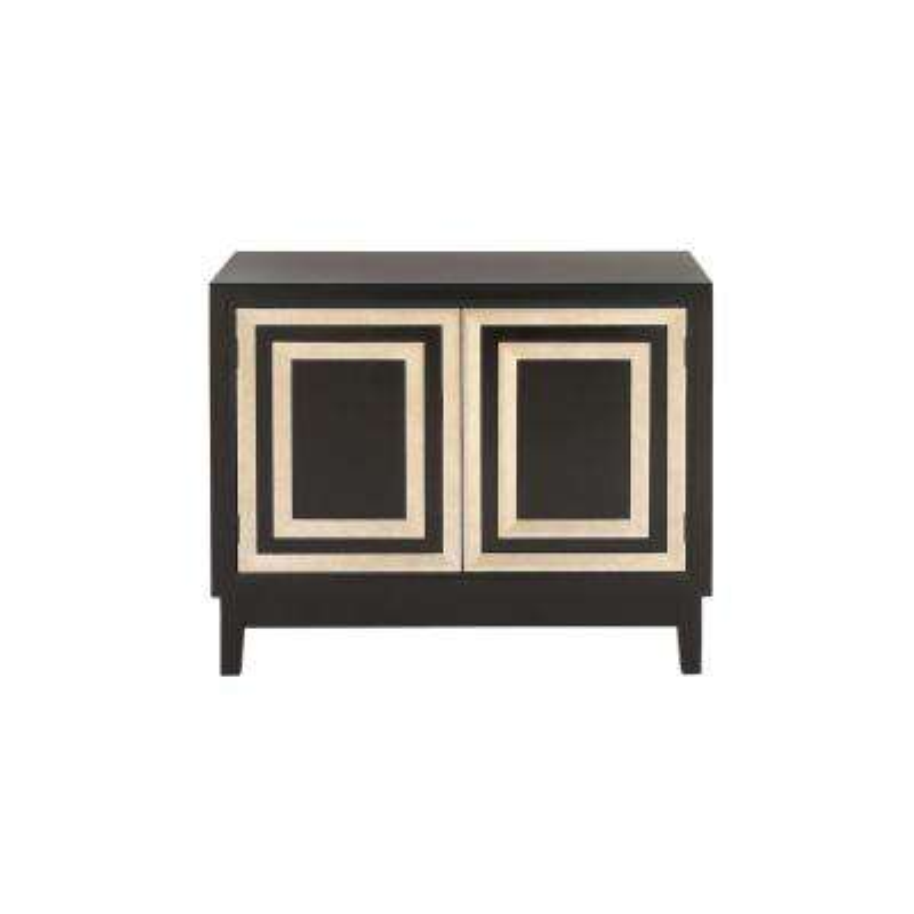 Black and Gold Modern 2-Door Wooden Cabinet