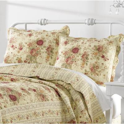 Antique Rose 2-Piece Multicolored Twin Quilt Set