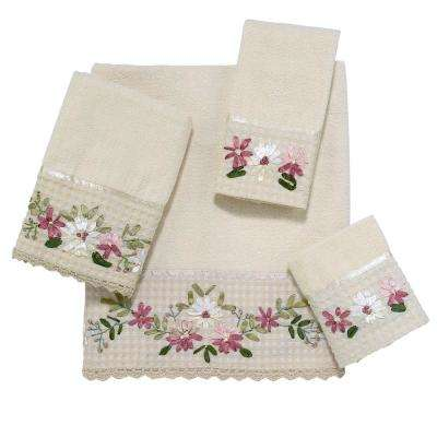 Victoria Embroidered 4-Piece Bath Towel Set in Ivory
