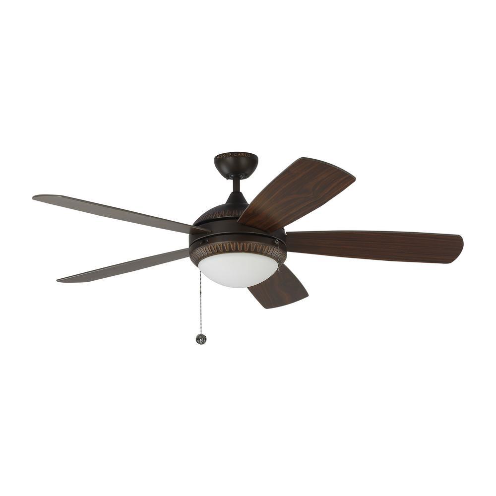 Discus Ornate 52 in. LED Indoor Roman Bronze Ceiling Fan