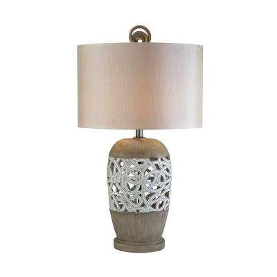 32.5 in. Antique Brass Carved Strings Table Lamp