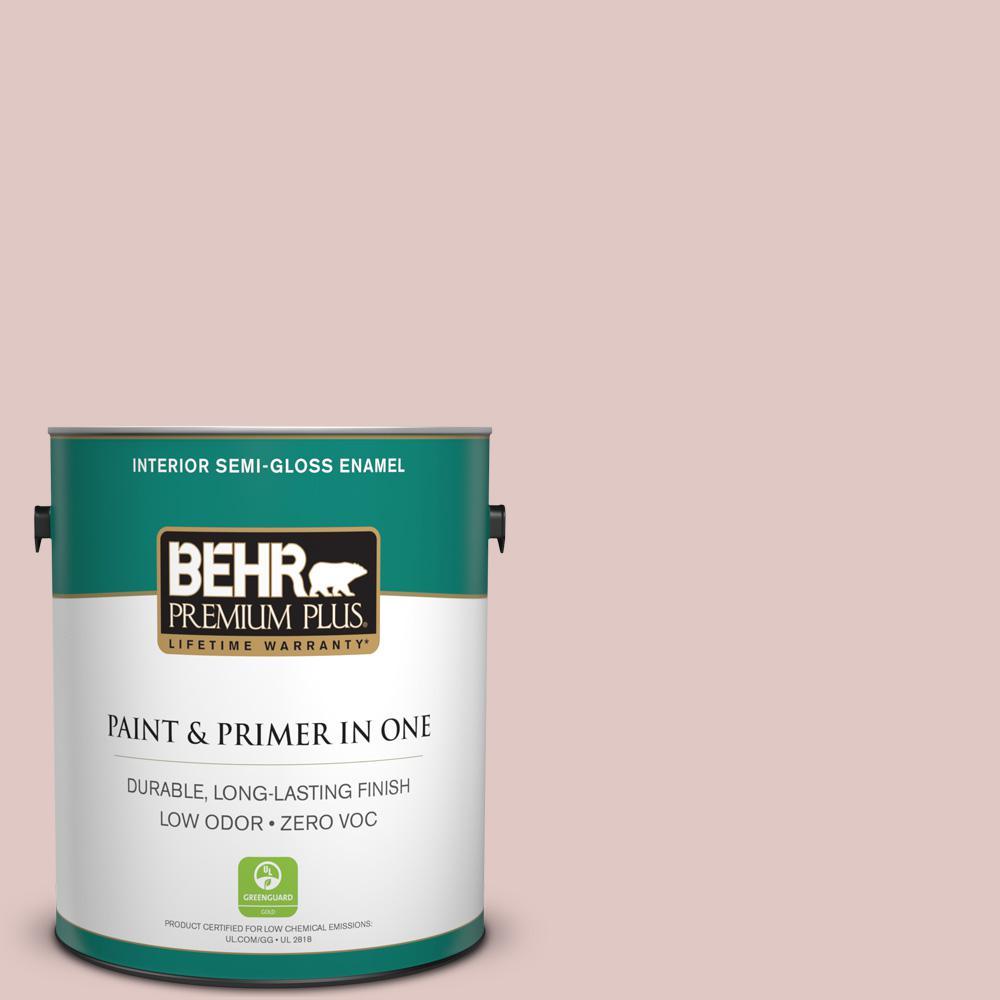BEHR Premium Plus 1-gal. #160E-2 Pink Water Zero VOC Semi-Gloss Enamel Interior Paint