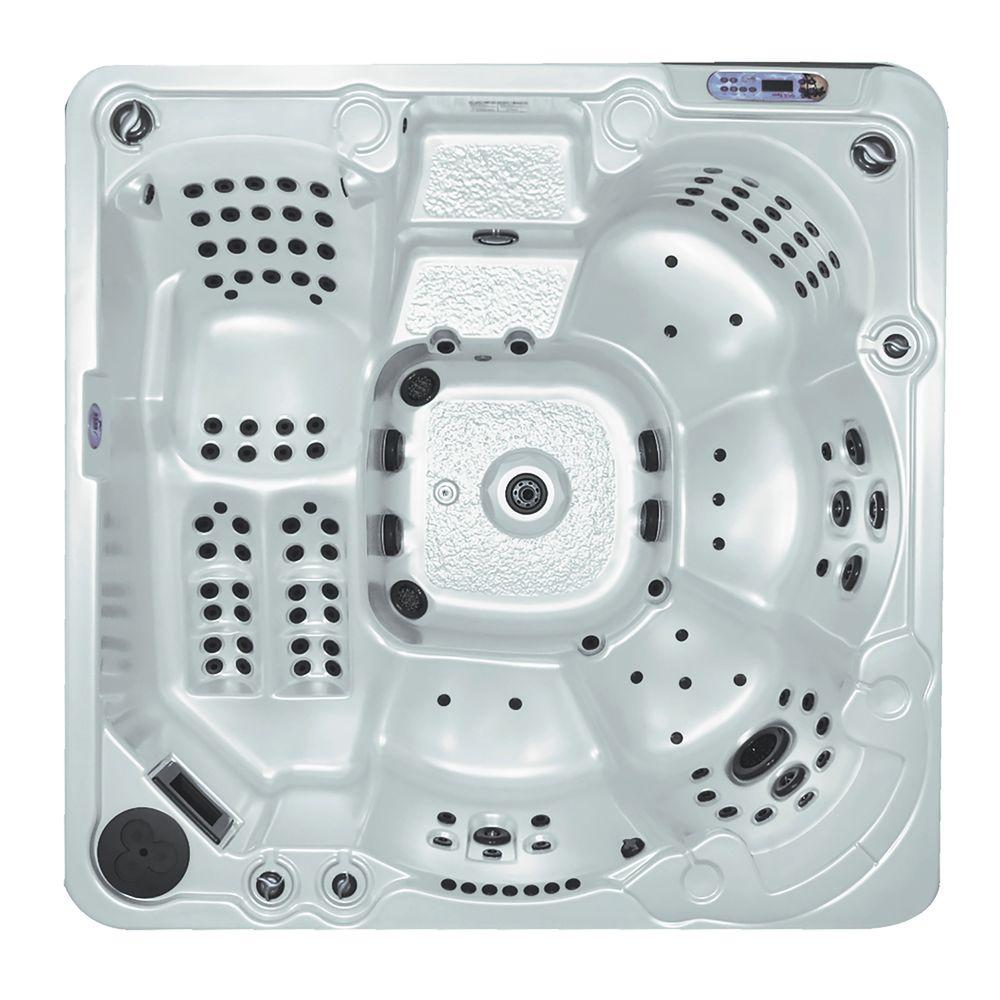 QCA Spas Athens in Silver Marble 6-Person 144-Jet Spa with (2) 5.2 BT HP Pumps, Waterfall and Free Energy Saver Package