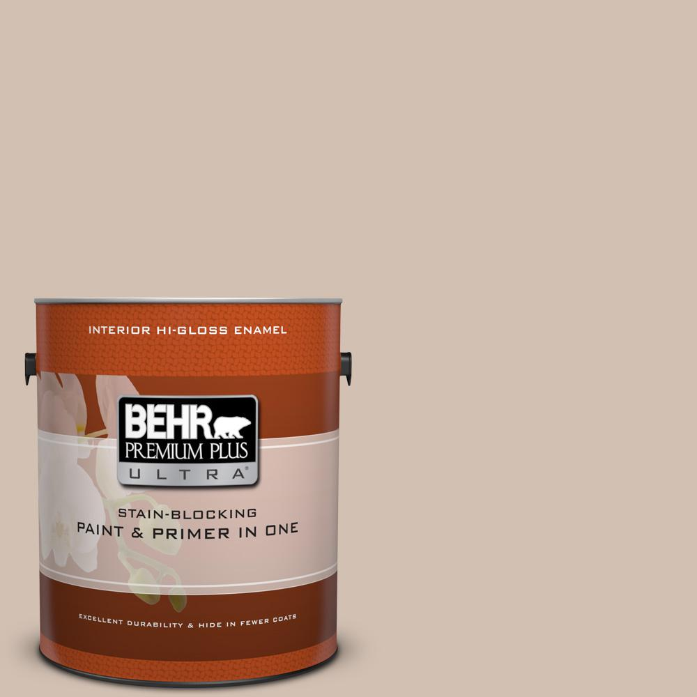 1 gal. #HDC-AC-04 Avenue Tan Hi-Gloss Enamel Interior Paint