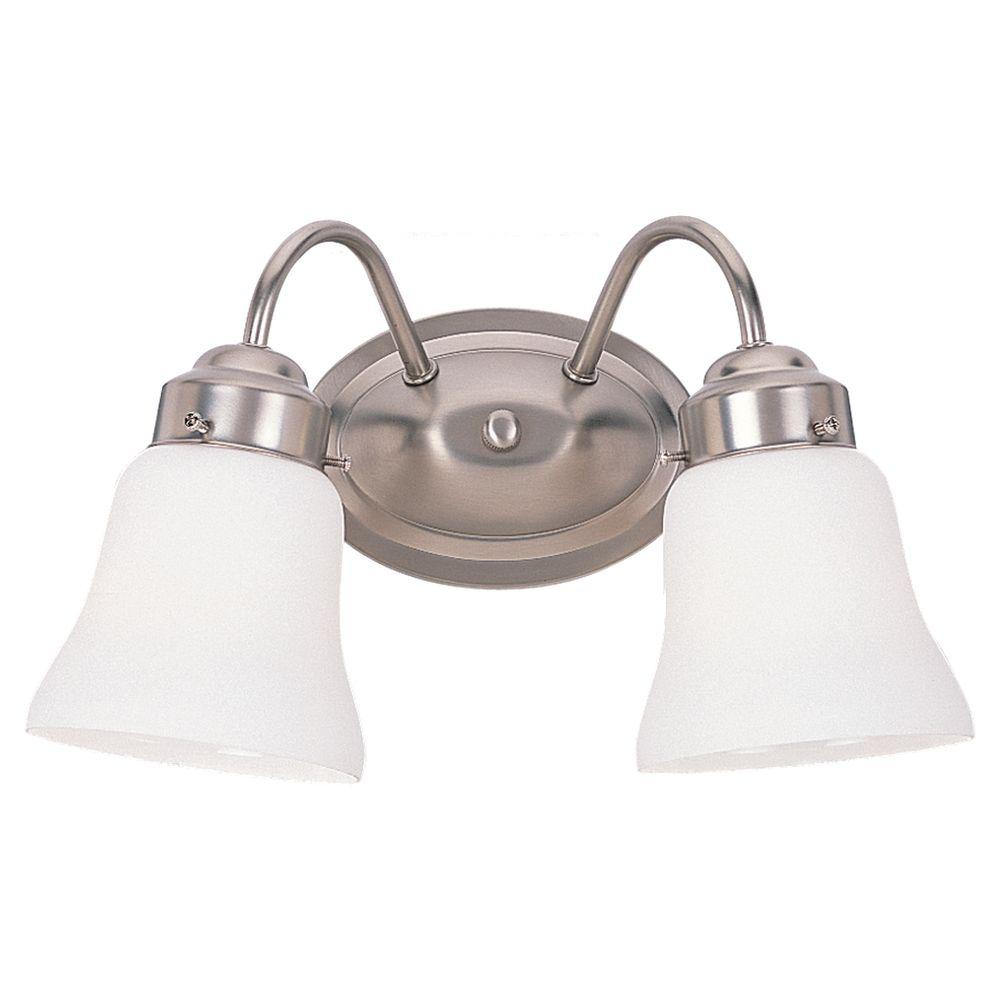 Vanity Light Home Depot: Sea Gull Lighting Westmont 2-Light Brushed Nickel Vanity