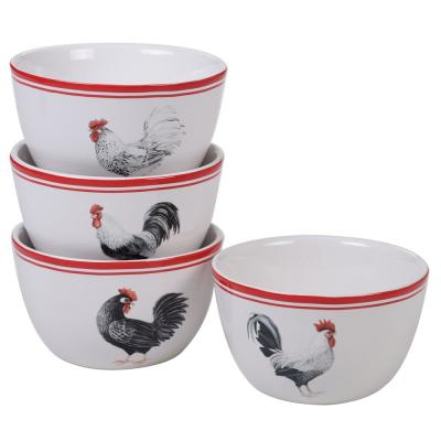 Homestead Rooster 4-Piece Country/Cottage Multi-Colored Ceramic 22 oz. Ice Cream Bowl Set (Service for 4)