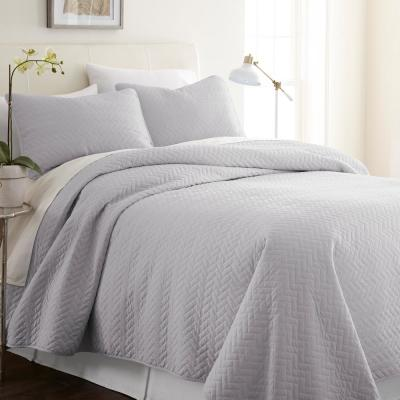 Herring Gray Twin Performance Quilted Coverlet Set