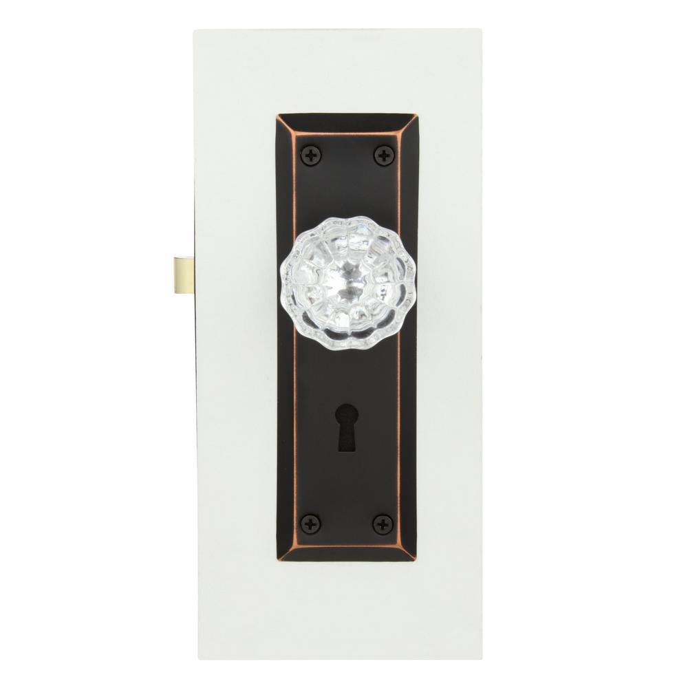 Classic Bronze Keyed Prime-Line Products E2497Mortise Lock Set with Glass Knob