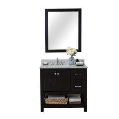 Wilmington 36 in. W x 34.2 in. H x 22 in. D Bath Vanity in Espresso with Marble Vanity Top in White with White Basin
