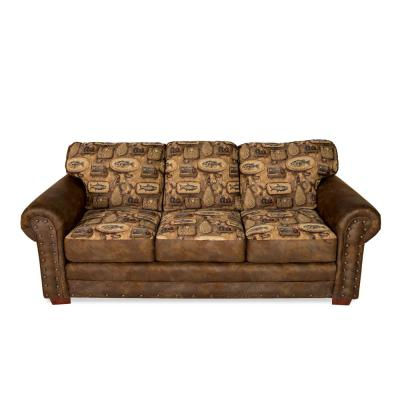 River Bend Fishing Lodge Sofa with Nail Head Accents and Fishing Motif