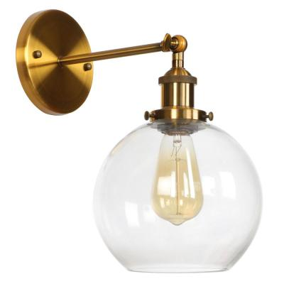 GLD 1-Light 5.31 in. Bronze Sconce with Glass Globe Shade