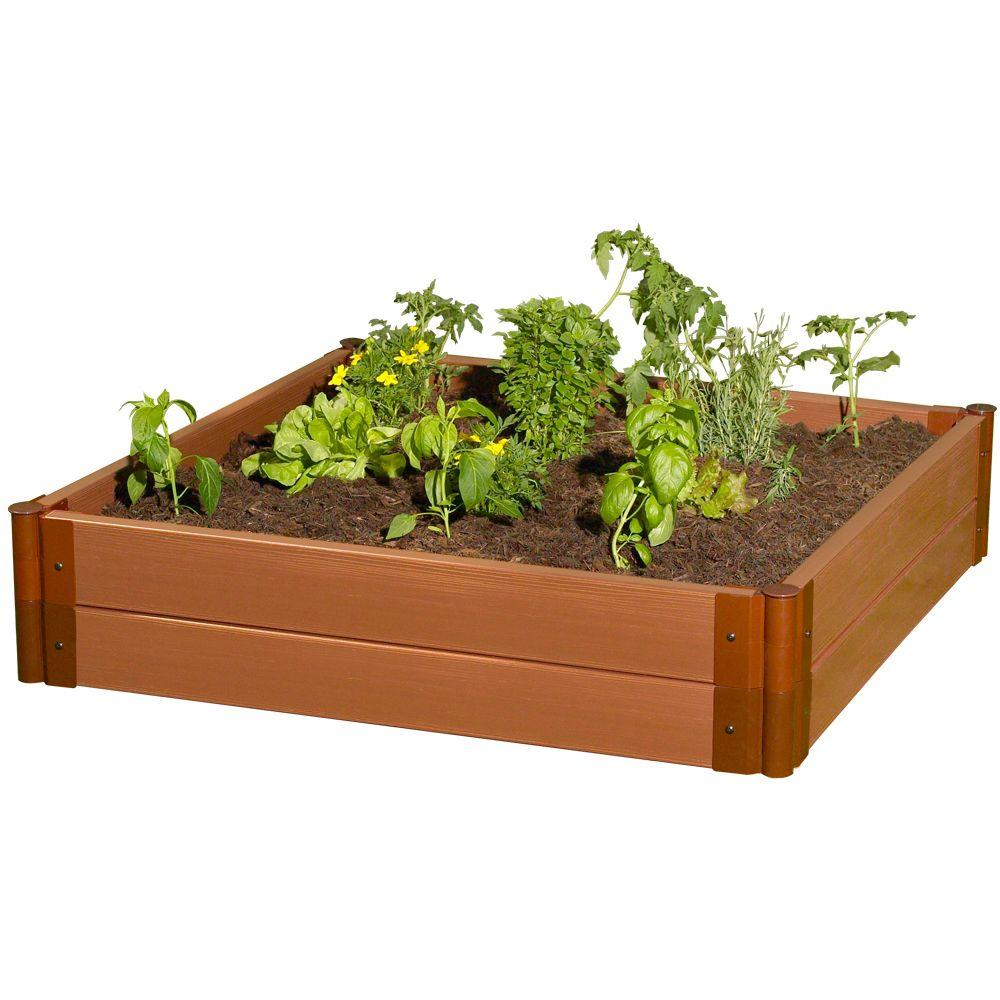 Frame It All Two Inch Series 4 ft. x 4 ft. x 11 in. Composite Raised Garden Bed Kit