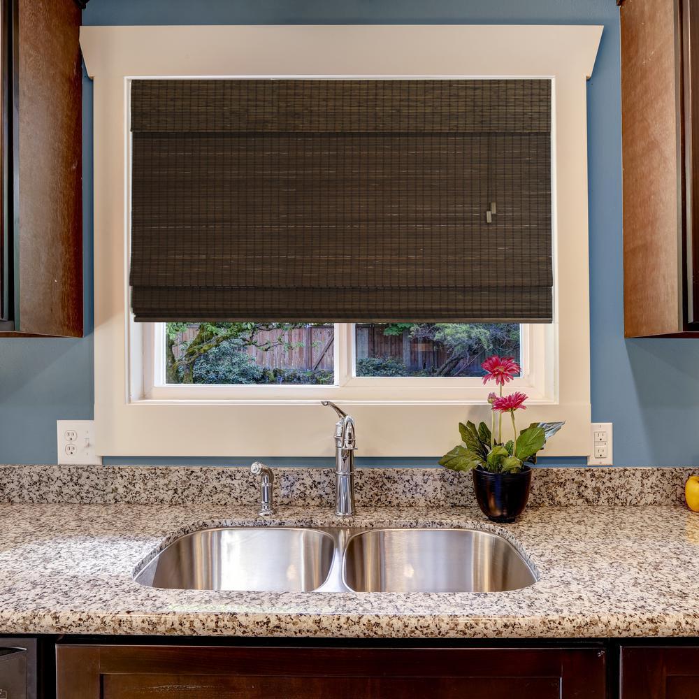 Home Decorators Collection Espresso Flatweave Bamboo Roman Shade 33 In W X 48 In L 0258435