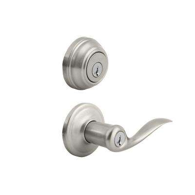 Tustin Satin Nickel Exterior Entry Door Lever and Single Cylinder Deadbolt Combo Pack featuring SmartKey