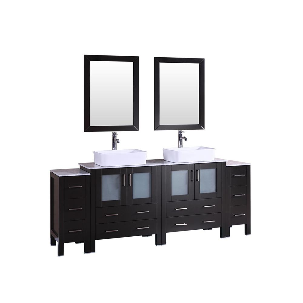 Bosconi 84 in. Double Vanity in Espresso w/ Carrara Marble Vanity Top in Gray w/ White Basin Polished Chrome Faucet and Mirror