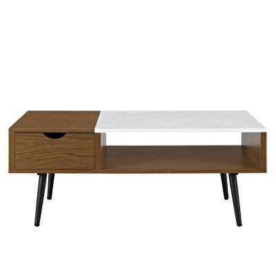 Pecan Wood and Faux Marble Coffee Table