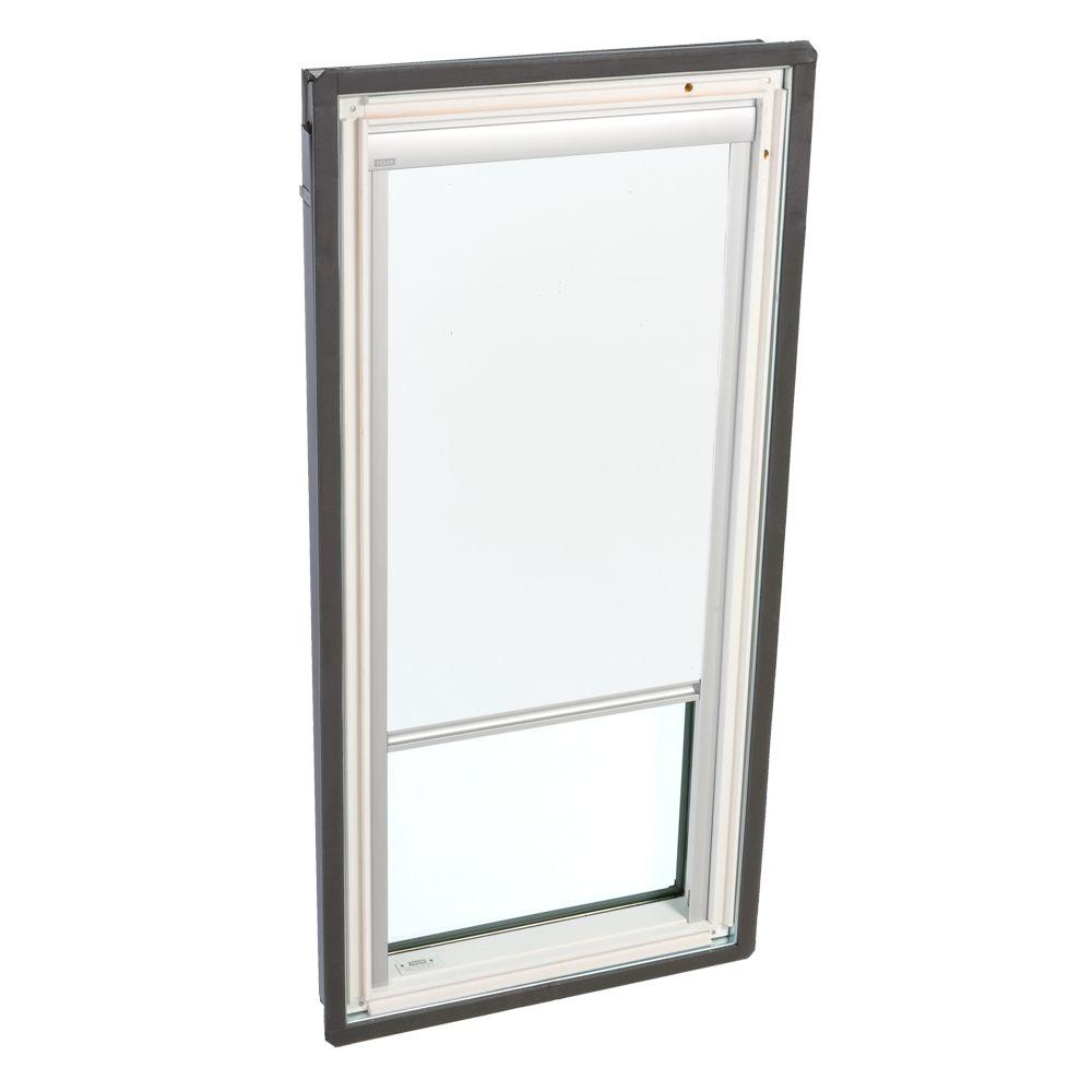 VELUX Truss Series 22-1/2 x 45-3/4 in. Fixed Deck-Mounted Skylight Tempered LowE3 Glass White Solar Powered Blackout Blind