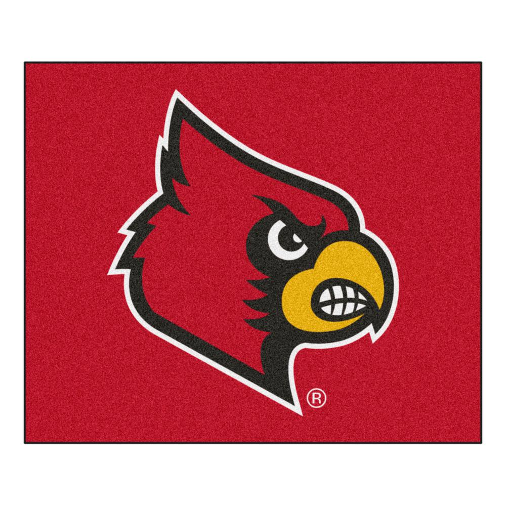FANMATS NCAA University of Louisville Red 5 ft. x 6 ft. Indoor/Outdoor Tailgater Area Rug