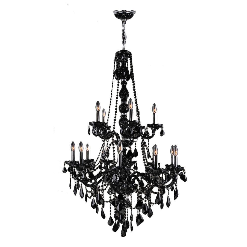 black crystal lighting. Worldwide Lighting Provence Collection 15-Light Chrome With Black Crystal Chandelier E