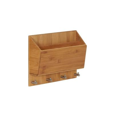 12.6 in. W x 3.15 in. D x 3.94 in. H Square Bamboo, Letter Box Organizer with 4 Hooks