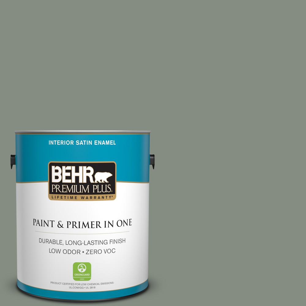 1-gal. #PPF-34 Peaceful Glade Zero VOC Satin Enamel Interior Paint
