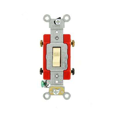 20 Amp Industrial Grade Heavy Duty Double-Pole Toggle Switch, Ivory