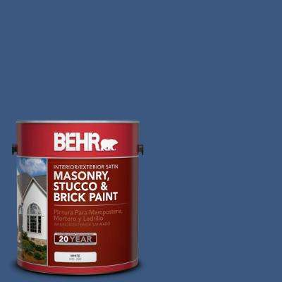 1 gal. #M520-7 Admiral Blue Satin Interior/Exterior Masonry, Stucco and Brick Paint