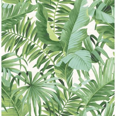 56.4 sq. ft. Alfresco Green Palm Leaf Wallpaper