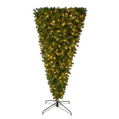 7 ft. Pre-Lit LED Wesley Spruce Artificial Christmas Upside Down Tree with Color Changing Lights
