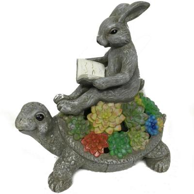 Solar Powered 9 in. Tall Integrated LED Reading Bunny on Turtle Garden Light in Gray