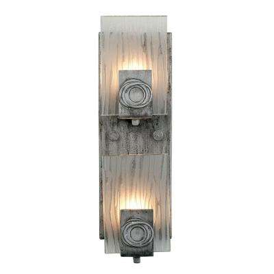 Polar 2-Light Blackened Silver Vertical Sconce with Ice Crystal Glass