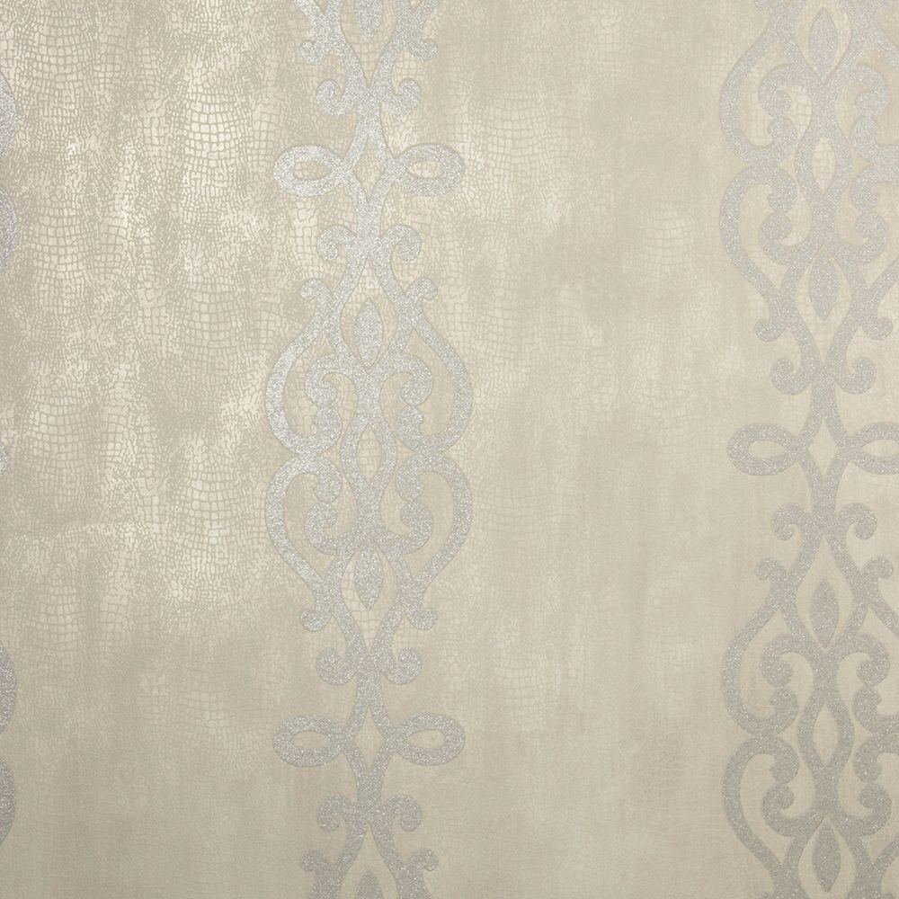 Anaconda Taupe Glitter Stripe Wallpaper