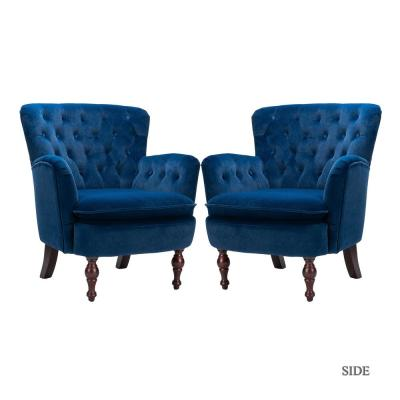 Isabella Navy Tufted Accent Chair (Set of 2)